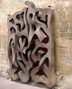 Sculptural wooden door, Barcelona, Spain