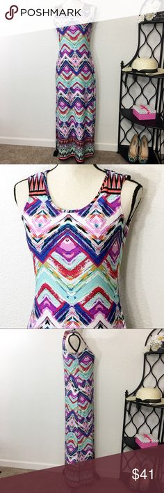 """NY Collection Sleeveless Stretchy Maxi Dress New Vibrant and comfortable multi-colored, stretchy maxi dress with 12"""" side slits. Bust: 33""""; length from the shoulder to the bottom hem: 51 1/2"""". Measurements are approximate.  Smoke free home. 🌺Thank you for shopping my closet 😊🌺 NY Collection Dresses Maxi"""