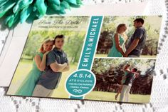 Save the Date Photo Magnet - Save the Dates, Save the Date Magnets, Teal, Mint Blue Photo Magnet, Personalized - DEPOSIT