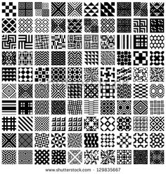 100 geometric seamless patterns set, black and white vector backgrounds collection. - stock vector
