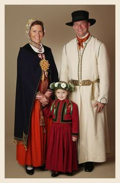 A family from Latvia in traditional dress