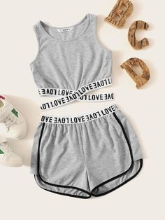 Kiddie Girls Letter Tape Criss Cross Hem Top And Dolphin Shorts Suit Set - - Source by geidyann Cute Lazy Outfits, Teenage Outfits, Stylish Outfits, Emo Outfits, Batman Outfits, Formal Outfits, Fandom Outfits, Rock Outfits, Pajama Outfits