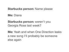 Yea now I'm Olivia when I order a Starbucks<<<<uh same