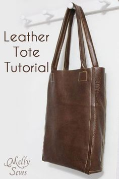 Leather Tote Tutorial - Melly Sews - #diy #sewing #tutorial