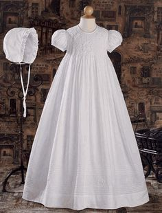 Hand Smocked and Embroidered Heirloom Christening Gown with Pintucking