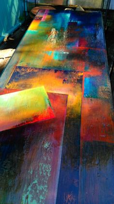 ready to ship extra long sturdy colorful reclaimed wood Hand Painted Furniture, Funky Furniture, Paint Furniture, Furniture Makeover, Tadelakt, Paint Effects, Resin Art, Painting Techniques, Painting Inspiration