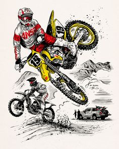 Offroad / MX Catalog cover illustration by Adi Gilbert / for Tucker Rocky. Featuring a drawing of motocross / super cross champion Justin Bogle Dirt Bike Tattoo, Motocross Tattoo, Motocross Logo, Motocross Enduro, Moto Enduro, Bike Tattoos, Motorcycle Art, Bike Art, Motorcycle Touring