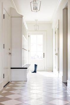 Kitchen Wet Bar, White Built Ins, Flur Design, Foyer Flooring, Checkered Floors, Living Room Inspiration, Mudroom, Tile Floor, New Homes