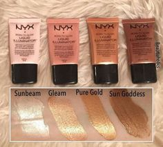 nyx liquid highlighters. Are the best drug store Highlighter pigment. But I hate the liquid feel on my face, so they look beautiful on the body