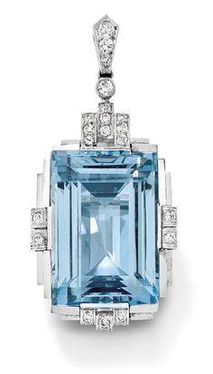 Art Deco Aquamarine & Diamond Pendant 1930. 20 Gorgeous Aquamarine - Style Estate  -