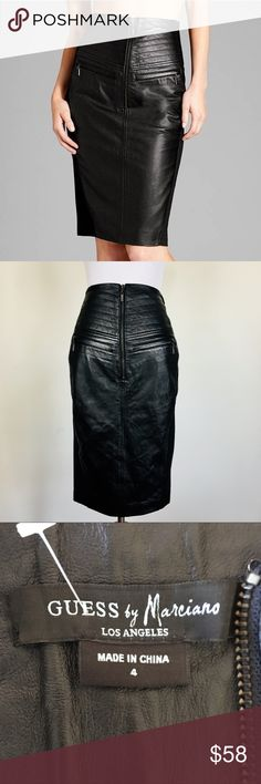 DIANE VON FURSTENBERG Annais Leather Pencil Skirt his skirt is uber hot! Total rockstar vibe with this 100% leather and fabric mix pencil skirt by Guess by Marciano. Size 4. Great Condition.  For figure flattering style that brings in a wine of bad girl edge, nothing beats this high waist pencil skirt. Leather front with stitching detail and two front zip pockets. Zips at front. Side and back stretch knit.  * Back slit * 100% genuine lamb leather * 68% rayon / 30% nylon / 4% spandex * Lining…