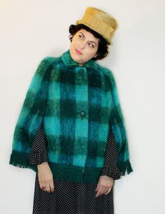 Vintage Scotch House Mohair  Teal Green Tartan by citizenrosebud, $130.00