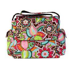 Pink Bouquet Floral Messenger Diaper Bag from #PoshTots.  #baby #bag #flowers
