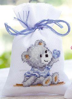 Buy Birth Teddy Bag Cross Stitch Kit Online at www.sewandso.co.uk