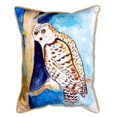 Betsy Drake Interiors Owl Indoor/Outdoor Lumbar Pillow