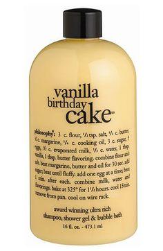'vanilla birthday cake' shampoo, shower gel
