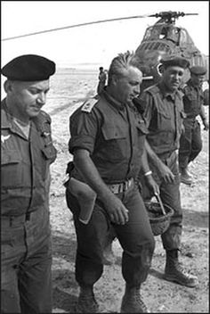 Israeli Gen. Ariel Sharon arrives at an army base shortly before the Six-Day War.
