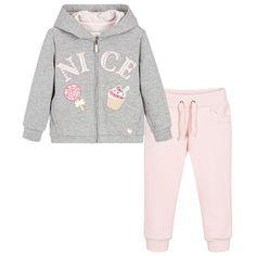 Mayoral Girls Pink & Grey Tracksuit  at Childrensalon.com
