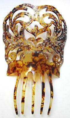 Large Antique Faux Tortoise Spanish Mantilla Hair Comb Pique Point Dots w R S   eBay