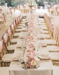 Long Table Blush Pink Wedding Centerpiece _SMS Photography -
