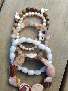 Your place to buy and sell all things handmade Layered Bracelets, Beaded Bracelets, White Jade, Pink Marble, Rutilated Quartz, Bracelet Set, Sparkle, Pearls, Sands
