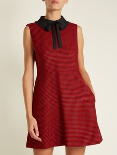 Click here to buy REDValentino Tie-neck hound's-tooth wool dress at MATCHESFASHION.COM