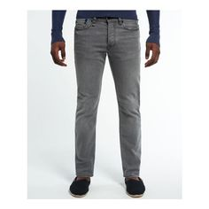 Superdry Colour Jeans ($90) ❤ liked on Polyvore featuring men's fashion, men's clothing, men's jeans, men, light grey, mens jeans, mens button fly jeans and mens leather jeans