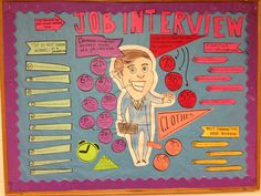 Bulletin board with job interview tips.  Great for this time of year when people are looking for jobs/internships for next year!
