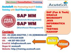 Get Free Demo For SAP Materials Management and SAP Warehouse Management from AcuteSoft Solutions