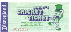 Jiminy Cricket ticket from Disneyland. These tickets were good for any ride.