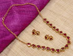 Red Stone Necklace, Imitation Necklace Sets with Red Stones. Gold Bangles Design, Gold Earrings Designs, Gold Jewellery Design, Necklace Designs, Gold Designs, Silver Jewellery, Simple Designs, Gold Necklace Simple, Gold Jewelry Simple