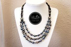black pearl triple strand bib necklace #iriselise #jewelry #handmade