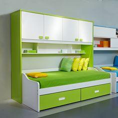 Ярко-зеленая кровать для ребенка в комнату с полками и ящиками для игрушек и вещей купить в интернет-магазине мебели https://lafred.ru/catalog/catalog/detail/43419261967/