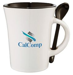 This Dolce Ceramic Mug with Spoon features a tapered design with a mini spoon that slides into the handle. Add your logo for promotional success!