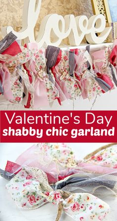 This fabric and ribbon Valentine's Day garland is the perfect addition to your mantel! Rag Garland, Ribbon Garland, Fabric Garland, Diy Ribbon, Homemade Valentines, Vintage Valentines, Valentine Crafts, Happy Valentines Day, Valentine Ideas