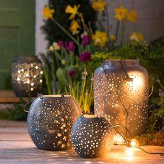 Punched Gunmetal Lantern, Oval in Outdoor Living Lighting + Lanterns at Terrain