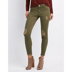 Refuge Green Skin Tight Legging Destroyed Jeans - Size 2