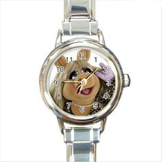 Miss Piggy Round Italian Charm watch. http://stores.shop.ebay.co.uk/giftpick