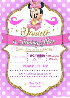 Minnie Mouse, Minnie Baby, Minnie Birthday, Baby Birthday, Kids Birthday Party Invitations, Pump It Up, Party Printables, Decoration, Girls