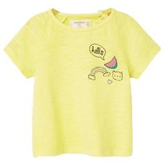 Print Flecked T-Shirt (2.145 HUF) ❤ liked on Polyvore featuring tops, t-shirts, shirts, mango tee, patterned tops, yellow tee, print t shirts and yellow top
