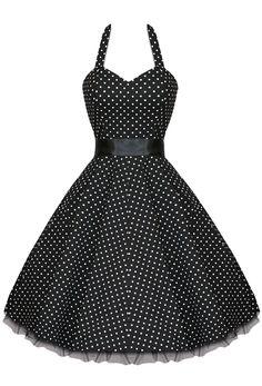 Plus Size Black & White Polka Dot Halter Neck Dress