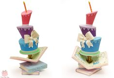 Whimsical Topsy Turvy cake created for Colette Peters Birthday Collaboration.  Happy Birthday Colette!  We love you!
