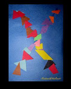 scrip-scrap sensory exploration of letter X Letter X Crafts, Abc Crafts, Alphabet Crafts, Alphabet Art, Letter Art, Letter Tracing, Preschool Letters, Letter Activities, Kindergarten Crafts