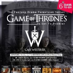 #PrepareForWinter before #WinterIsHere 6 DAYS - TO GO - 17.7.2017  We've been waiting for so long, but Winter is finally here...at Westeros Café, Jaipur....  Join us in our own little #WesterosCafé S-1, C-Scheme, Near MGF Mall, Jaipur to celebrate the premiere of Game of Thrones season 7! Dress as your favorite character, sip-eat-feel on themed GOT fanatics.  <-----Book Your Availability------------> Call 09660173232 for more information.  #party #fun #ThemeParty #instafun #instagood…