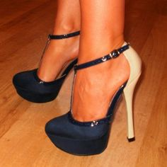 Navy blue satin blue  from ILoveCuteShoes.com