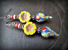 Lampwork Glass, Czech Glass, Flowers, Festive, Lampwork Headpins, Earthy, Organic, Rustic, Beaded Earring by YuccaBloom on Etsy