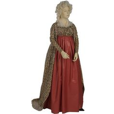 High-waisted open robe made of block-printed and glazed cotton, England, 1795-1800