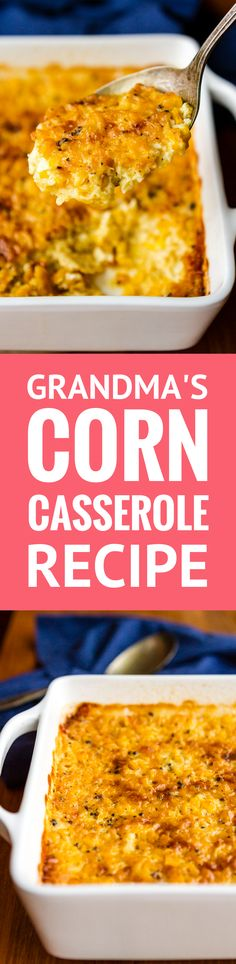 Corn Casserole Recipe -- Pinned over 250,000 times! This creamed corn casserole recipe is SO good you'll want to scrape the dish completely clean to get every last bit of caramelized goodness from the corners! It's on the menu for every family gathering I