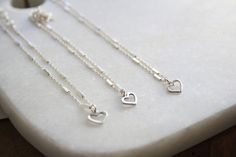Sterling silver anklet with tiny heart charm by SharonTasker