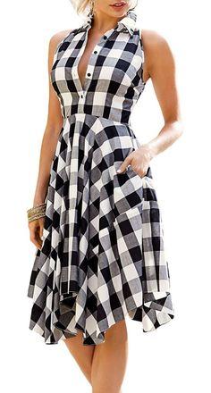 Squared black and white sleeveless dress. Blouse Dress, Plaid Dress, Dress Skirt, Pleated Shirt, Tunic Shirt, Casual Dresses, Summer Dresses, Fit N Flare Dress, Daily Dress